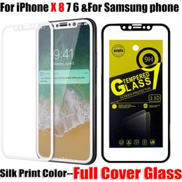 Wholesale Glossy Print - For iphone X 8 Silk print Color full cover Tempered Glass Screen Protector Film For iphone X 8 6 6S 7 7 plus