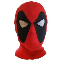 Wholesale Movie Theme - Theme Costumes Koveinc Halloween Deadpool Mask Cosplay Costume Lycra Spandex Mask Red Adult Sizes Rib Fabrics X-Men