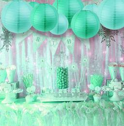 patio de papel Rebajas Papel 8Pc Tiffany Blue (Mix 20Cm 30Cm) Linternas de papel chinas Bolas decorativas Linternas de papel chinas Home Yard Garden Hanging Decor