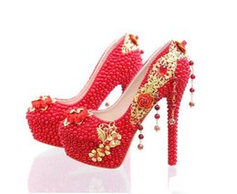 Wholesale Gorgeous Diamond Shoes - Elegant Red Pearl Rhinestone Wedding Shoes Handmade Gorgeous Bridal Shoes 14 Inches High Heel Diamond Woman Pumps Prom Shoes