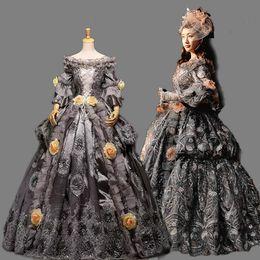 2019 vestido de carnaval vintage High-end Vintage cinza do século XVIII rococó barroco Marie Antoinette renascimento vestidos de baile histórico período vestido de carnaval desconto vestido de carnaval vintage