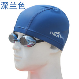 Wholesale Waterproof Fabric Swim Cap - Wholesale- Sbart New Waterproof PU Fabric Protect Ears Long Hair Sports Swim Pool Hat Swimming Cap Free size for Men & Women Adults
