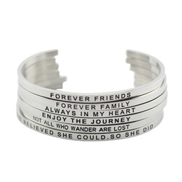 Wholesale Hand Bracelet For Women - 316L Stainless Steel Engraved Positive Inspirational Quote Hand Stamped Cuff Mantra Bracelet Bangle For Women Jewelry