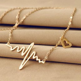Wholesale Pulse Wave - Simple Wave Heart Necklace Chic Ecg Pulse Gold Plated Charm Pendant Necklace Lightning Women Vintage Jewelry Accessories