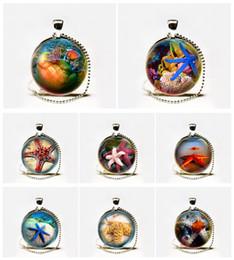 Wholesale Glass Starfish Shells - Wholesale Fashion Glass Starfish Necklace Octopus Pendant Sea Shells Pendant Round Glass Necklace
