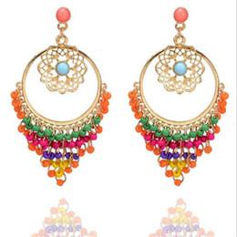 Wholesale Gold Beads Hoop Earrings - Elegant Hollow Flower Pendant Dangling Earrings Bohemia Style Colors Beads Tassel Stud Earrings Girl Gold Hoop Earrings Lady Holiday Jewelry
