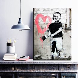 Wholesale Paint Brush Pictures - ZZ19 graffiti canvas prints art little boy brushing heart design banksy canvas pictures oil art painting for livingroom decor