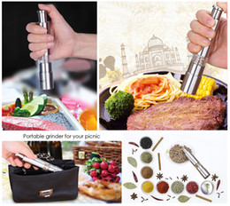 Wholesale Salt Mills - Stainless steel manual pepper mill Multi-purpose salt and pepper grinder Manual push sliver corn mustard spice thumb push seed muller