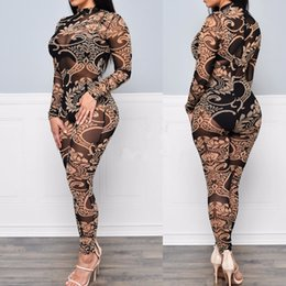Wholesale Digital Flora - New Sexy Digital Flora Printed Sheer See Through Pants Bodysuits Crew Neck Long Sleeve Skinny Jumpsuits Women Rompers