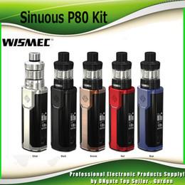 Wholesale Black Box Fire - Original Wismec Sinuous P80 Starter Kits 80W TC Box Mod Kit 2ml Elamo Mini Atomizer Tank Hidden Fire Button 100% Genuine