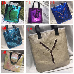 Wholesale Wholesale Designers Bags - Mermaid Sequin totes Bags Mermaid Bright Handbags Glitter Sequins Totes Glow Reversible Shopping Bags Designer Fashion Beach Bags KKA1786