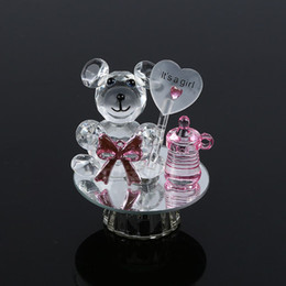 Wholesale Wholesale Bear Favors - K5 Crystal Bear Nipple Baptism Baby Shower Souvenirs Party Christening Giveaway Gift Wedding Favors and Gifts For Guest ZA3173