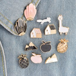Wholesale Fox Shell - 12pcs set Pineapple Apple House Fox Snow Mountain Shell Brooch Button Pins Denim Jacket Pin Badge Cartoon Fashion Jewelry Gift Wholesale