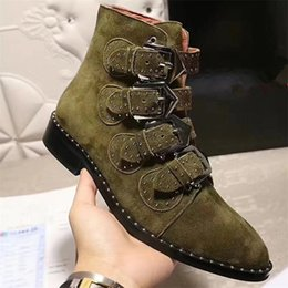 Wholesale Studded Shoes Boots Ankle - New Fashion 2017 Genuine Leather Women Brand Boots Top Quality Military Buckled Shoes Studded Ankle Booties European Luxury Short Boots A90