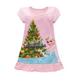 Wholesale Kids White Cotton Dress - 2017 summer girls dresses cartoon sleepwear kids pajamas polyester nightgowns sleepwear clothes 3~9T 4 p l