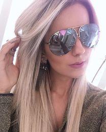 Wholesale Oversize Glasses - oversize Aviator Sunglasses men brand designer 2017 big silver points metal sun glasses for women female mirror sunglass shades YW094