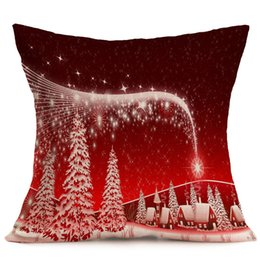 Wholesale Free Cushion Cover Patterns - The 2017 Vintage Style Christmas linen pillow cushion cover decorative pattern Home Furnishing cheap car pillow pillowcase 43x43cm free ship