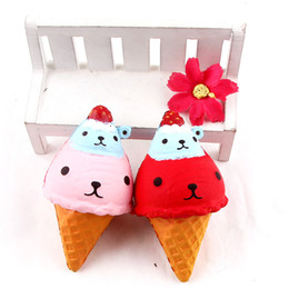 Wholesale Artificial Ice - 2017 new arrival hot Artificial Squishy bear Shape ice Cream Scented Slow Rising Relieves Stress Toy for Child Adult Anxiety Attention