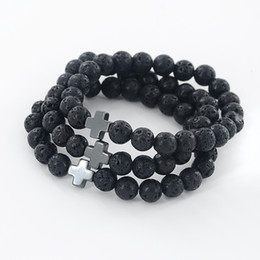 Wholesale Mens Gold Beaded Chain - Wholesale-New Arrival Mens Beaded Jewelry 8mm Lava Stone Beads Gallstone Cross Bracelets Party Gift Yoga Jewelry Z-371