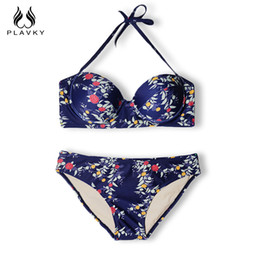Wholesale Sexy Thong Beach Woman - PLAVKY Sexy Floral Halter Bandeau Biquini Thong Swim Beach Wear Bathing Suit Beachwear Swimwear Women Brazilian Push Up Bikini