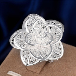 Wholesale China Flower Wholesale - Hot Deals 925 Sterling Silver Plated Flower Charm Finger Rings Women Fashion Party Jewelery Wedding Gifts Free Shipping