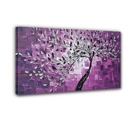 Wholesale Hand Painted Scenery Oil Painting - boutique selling 100% hand - painted the back knife - and - white painted purple flowers adorn the walls of high Q scenery oil painting canv