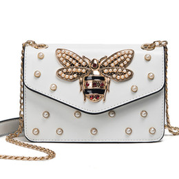 Wholesale Bee Girls - Women Brand Desinger Rhinestones Bee PU Leather Shoulder Bag Small Crossbody Bag with Chain For Girls Ladies Bag Bolso Mujer
