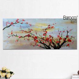 Aceite de ciruela roja online-estilo retro Pintura roja del árbol de ciruelo 100% pintado a mano la pintura al óleo de la lona de arte moderno de la pared decoración del hogar
