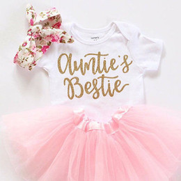 Wholesale Tops Shorts Headband - Newborn Baby Girls Clothes Set Letter Bodysuits Tops+Tulle Tutu Skirts+Headband 3pcs Summer Infang Two Piece Set Outfit Clothing