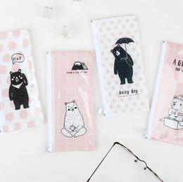 Wholesale Bear Stationery - Wholesale- The Bear Missing Someone B6 Mini File Bag Pencil Bag Stationery Storage Organizer Bag School Supply Student Prize
