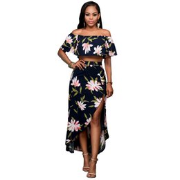 Wholesale Summer Shorts For Ladies - Slash Neck Dress Black Dresses two-pieces Dresses Polyester Short Sleeve Dresses with Floral Pattern for Ladies Free Shipping