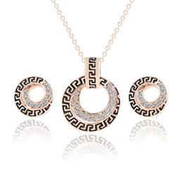 Wholesale Circle Shaped Earrings - Retro Style Rhonestone Alloy Earrings & Necklace Set Circle Shape Pendant Necklac Earrings Jewelry Sets Women's Wedding Dinner Party Gifts
