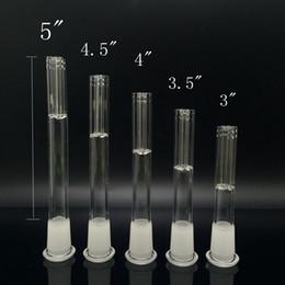 tubos de água de vidro fosco Desconto Downstem de vidro Com 5 Conector Armado 14mm Feminino Para 18mm Masculino Fosco Dropdown Conjunta Para Tubo De Água De Vidro Dab Plataforma de Petróleo Bongo De Vidro