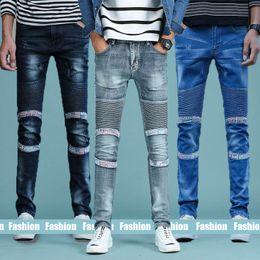 Wholesale wholesale denim trousers - Mens Jeans Fashion Ripped Jeans Fold Pants Biker Classic Skinny Slim Straight Drape Trousers Fit Casual Denim Pants Straight Leg Trousers