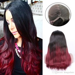 Wholesale Best Quality Remy Hair Wigs - Best Quality Silky Straight Ombre Color T1B Red Wine Remy Brazilian Hair Full Lace Human Hair Wigs for Black Women Hand Tied
