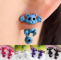 Wholesale Dimensional Animal Earrings - Wholesale Hot Sell Fashion Three-dimensional animal earrings Puncture small cat earrings