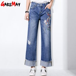 Wholesale Women Baggy Jeans - Wide Leg Embroidery Ripped Jeans female Denim Pants With Holes Baggy Jeans Flower Women Loose Destroyed Denim Trousers GAREMAY
