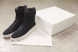 Wholesale White Knee High Sneakers - EMS Free Original Quality Fear Of God Military Boots FOG FEAR OF GOD Sneakers Owens men winter shoes Fog Black White High Top Jogging Boots