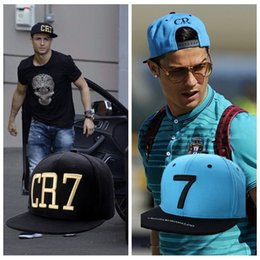 Wholesale Hip Hop Football - 2 Colors Cristiano Ronaldo CR7 Black Blue Baseball Caps hip hop Sports Snapback Football hat chapeu de sol bone Men women