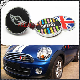 Adesivo mini emblema del bottaio online-Freeshipping MINI COOPER Distintivo dell'emblema Logo Decal Sticker Griglia anteriore Metallo No. H Metallo