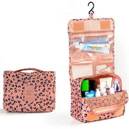 Wholesale Kit For Bathroom - Wholesale- Leopard Portable Make up Makeup Cosmetic Bag Organizer Hanging ToiletryWashing bag Storage For Bathroom Showe Travel Kit Handb