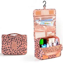 Wholesale Leopard Makeup Kit - Wholesale- Leopard Portable Make up Makeup Cosmetic Bag Organizer Hanging ToiletryWashing bag Storage For Bathroom Showe Travel Kit Handb
