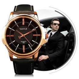 Wholesale Wholesale Luxury Brands - YAZOLE Brand Luxury Famous men watches Fashion leisure Dress Quartz Watch Business leather watch Male Clock Relogio Masculino 1504001