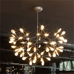 Wholesale White Metal Ceiling Lamp - Modern Firefly LED Chandelier Acrylic Lamp Branch Ceiling Light Rose golden Metal Branches Atmosphere Lighting Fixtures
