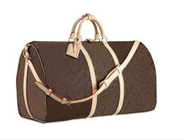 Wholesale Brown Leather Duffel Bag - ourdoor packs genuine leather brand designer keepall BAGS TRAVEL BAG DUFFLE BAG LUGGAGE BAG for women's and men's 45 50 55 60cm