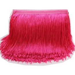 YACKALASI 10 Yards / Lot Elbise Fringe Püskül Kırpma Yumuşak Polyester Tek Bant Latin Makrome Dans Elbise Trimler Samba Etek Püskül 20 CM nereden fransız kristali tedarikçiler