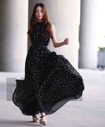 Wholesale Loose Long Skirts - 2017 New dots chiffon dress sleeveless vest skirt loose loose long dress collar (send belt)