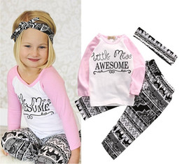 Wholesale Newborn Clothes Sale - hot sale girls suits 2017 Newborn Kids Baby Girl letter pint long sleeve tshirt tops+pants+headband pink black boutique Clothes Outfits Set