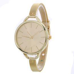 Wholesale Metal Watches For Women - wholesale super thin metal alloy mesh women watches fashion casual ladies round simple design dress quartz watches for women