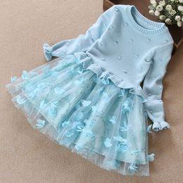 Wholesale Dress Blue Ball - free shipping fashion new autumn winter girl dress warm dress baby kids clothing